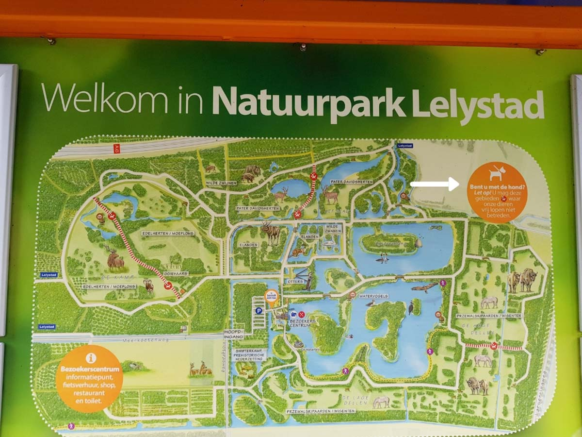 Met de hond naar Natuurpark Lelystad, plattegrond - Woef Welkom