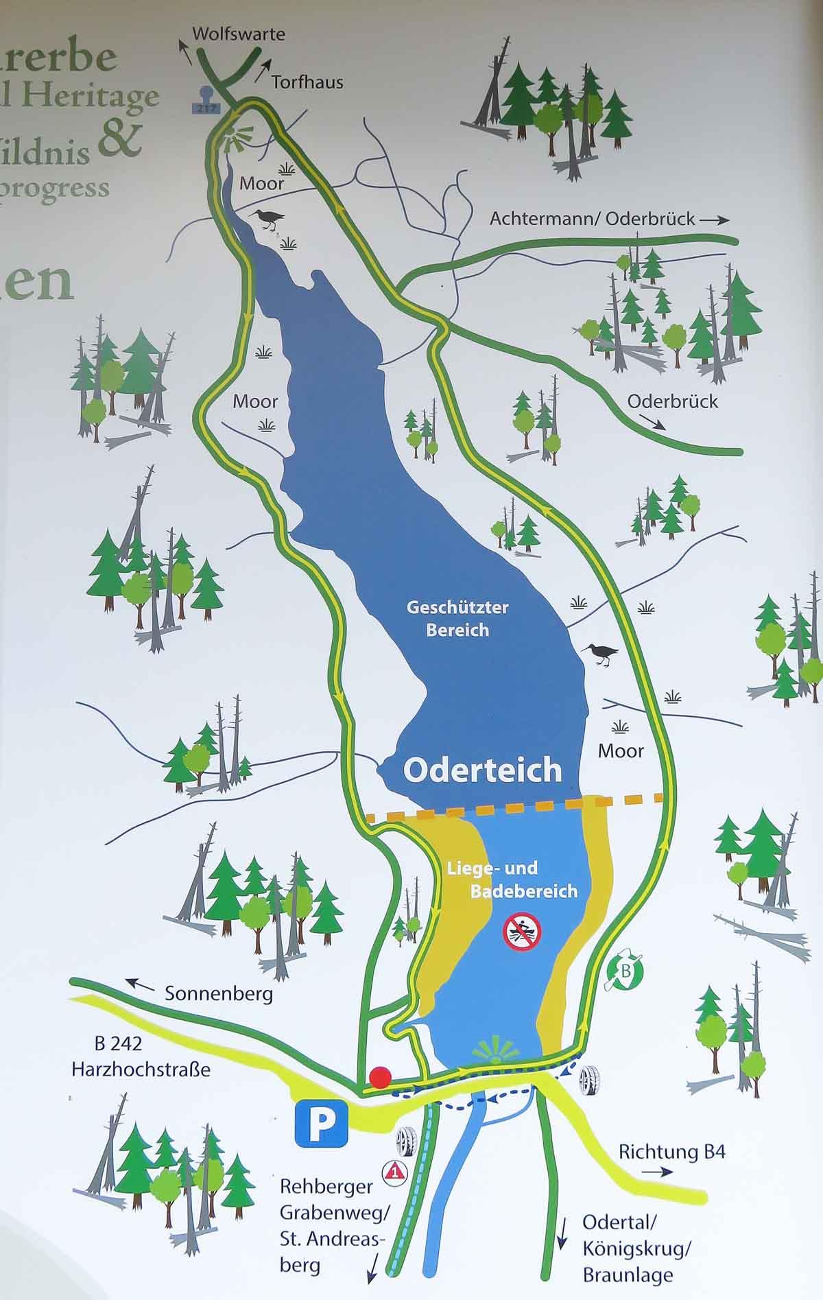 Met de hond wandelen in de Harz bij Oderteich plattegrond